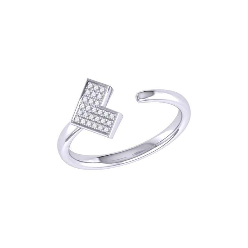 One Way Arrow Diamond Open Ring in Sterling Silver