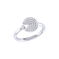 Pac-Man Candy Open Diamond Ring in Sterling Silver