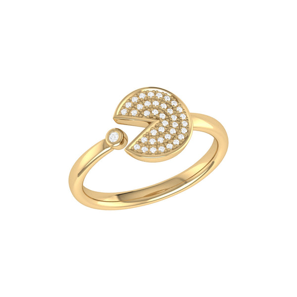 Pac-Man Candy Open Diamond Ring in 14K Yellow Gold Vermeil on Sterling Silver