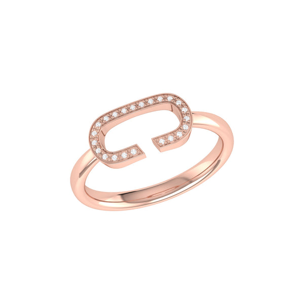 Celia C Diamond Ring in 14K Rose Gold Vermeil on Sterling Silver