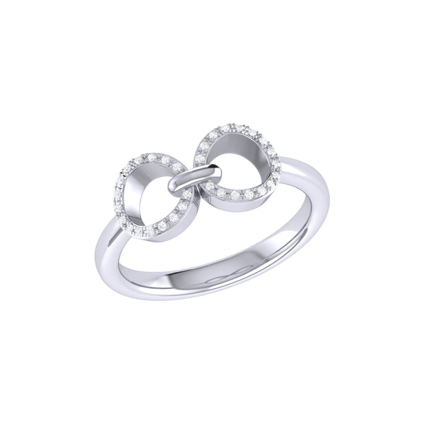 Binoculars Infinity Diamond Ring in Sterling Silver