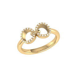 Binoculars Infinity Diamond Ring in 14K Yellow Gold Vermeil on Sterling Silver