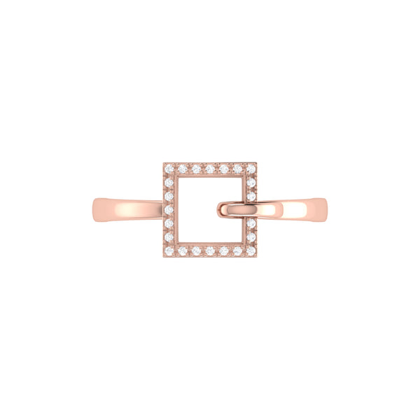 On The Block Square Diamond Ring in Sterling Silver in 14K Rose Gold Vermeil on Sterling Silver