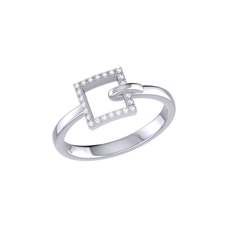 On The Block Square Diamond Ring in Sterling Silver