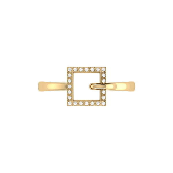 On The Block Square Diamond Ring in Sterling Silver in 14K Yellow Gold Vermeil on Sterling Silver