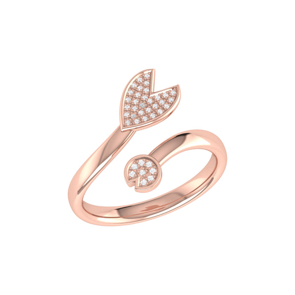 Pac-Man Chase Diamond Open Ring in 14K Rose Gold Vermeil on Sterling Silver