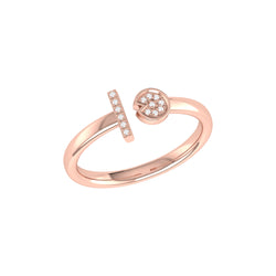 Pac-Man Lane Diamond Open Ring in 14K Rose Gold Vermeil on Sterling Silver
