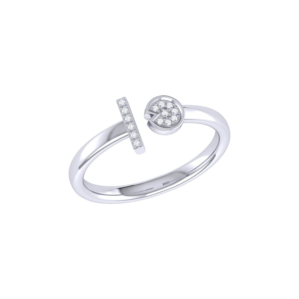 Pac-Man Lane Diamond Open Ring in Sterling Silver