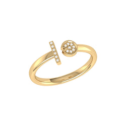Pac-Man Lane Diamond Open Ring in 14K Yellow Gold Vermeil on Sterling Silver
