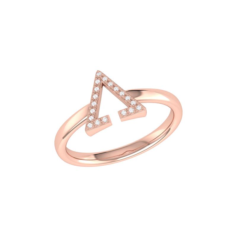 Aim High Open Triangle Diamond Ring in 14K Rose Gold Vermeil on Sterling Silver