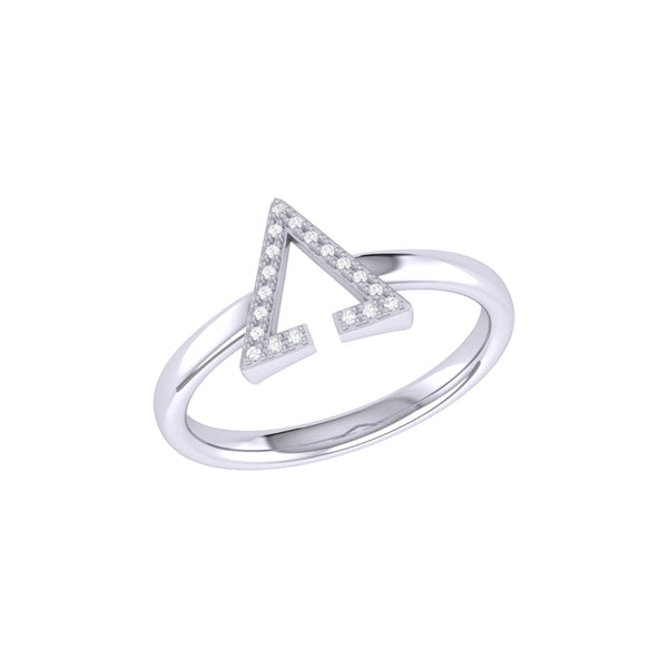 Aim High Open Triangle Diamond Ring in Sterling Silver