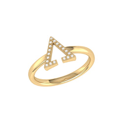 Aim High Open Triangle Diamond Ring in 14K Yellow Gold Vermeil on Sterling Silver