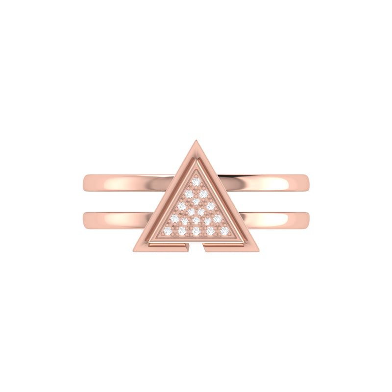 On Point Triangle Diamond Ring in 14K Rose Gold Vermeil on Sterling Silver