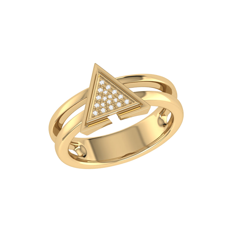 On Point Triangle Diamond Ring in 14K Yellow Gold Vermeil on Sterling Silver