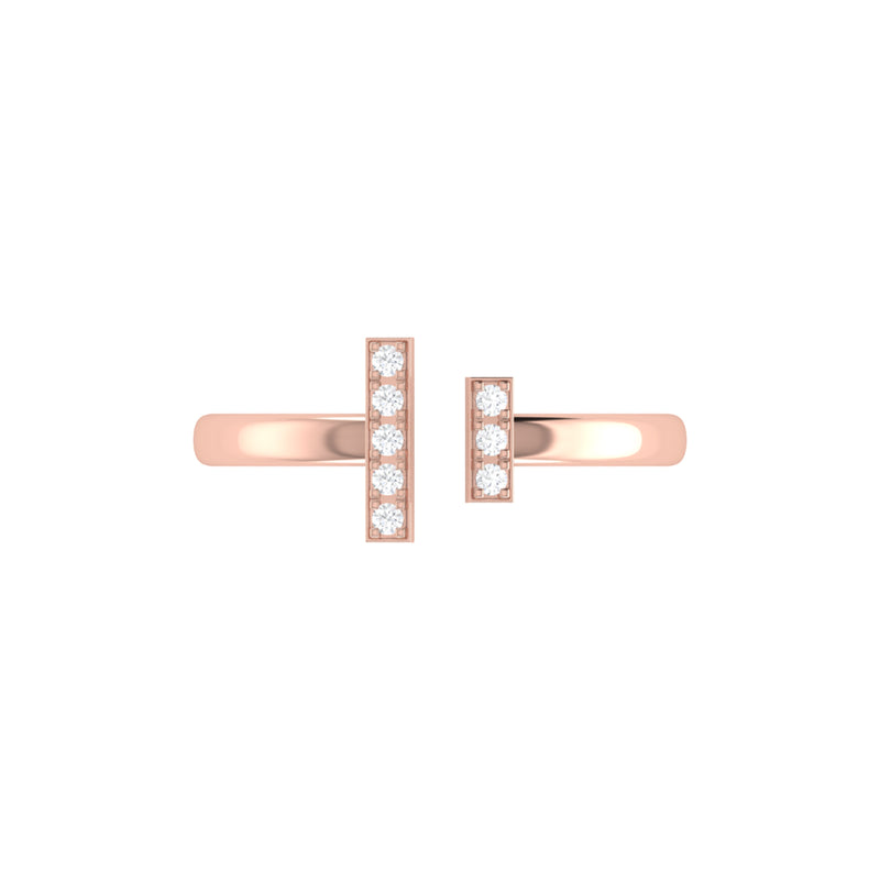 Parallel Park Double Diamond Bar Open Ring in 14K Rose Gold Vermeil on Sterling Silver
