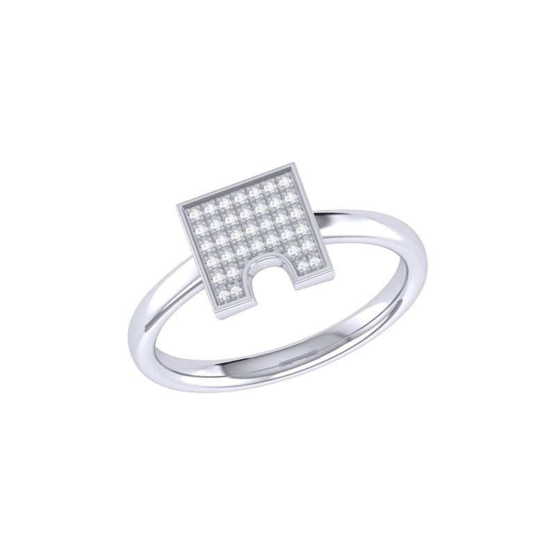 City Arches Square Diamond Ring in Sterling Silver