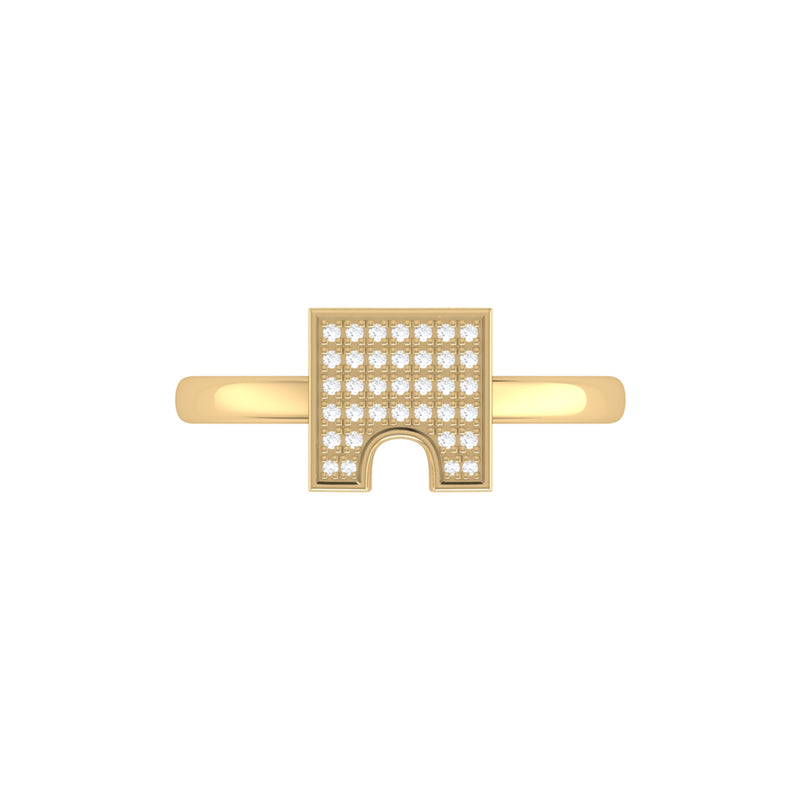 City Arches Square Diamond Ring in 14K Yellow Gold Vermeil on Sterling Silver