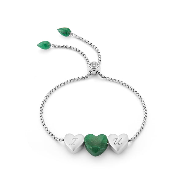 Luv Me Green Aventurine Bolo Adjustable I Love You Heart Bracelet in Sterling Silver