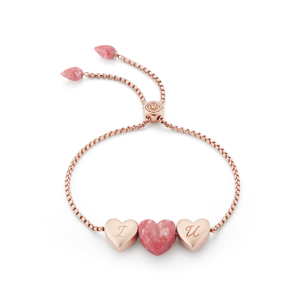 Luv Me Thulite Bolo Adjustable I Love You Heart Bracelet in 14K Rose Gold Plated Sterling Silver