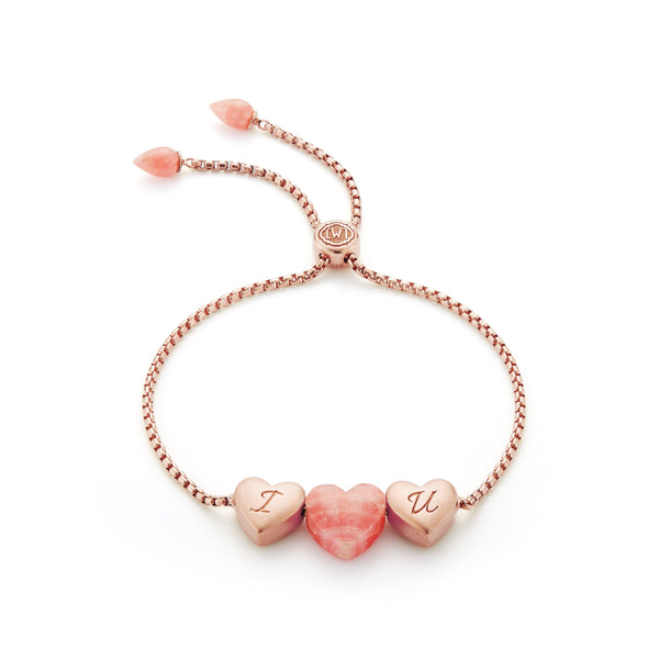 Luv Me Rhodochrosite Bolo Adjustable I Love You Heart Bracelet in 14K Rose Gold Plated Sterling Silver