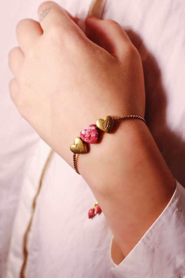 Luv Me Thulite Bolo Adjustable I Love You Heart Bracelet in 14K Yellow Gold Plated Sterling Silver