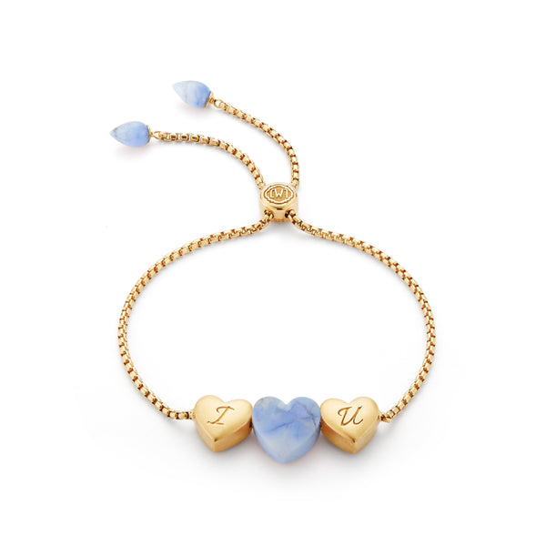 Luv Me Blue Howlite Bolo Adjustable I Love You Heart Bracelet in 14K Yellow Gold Plated Sterling Silver
