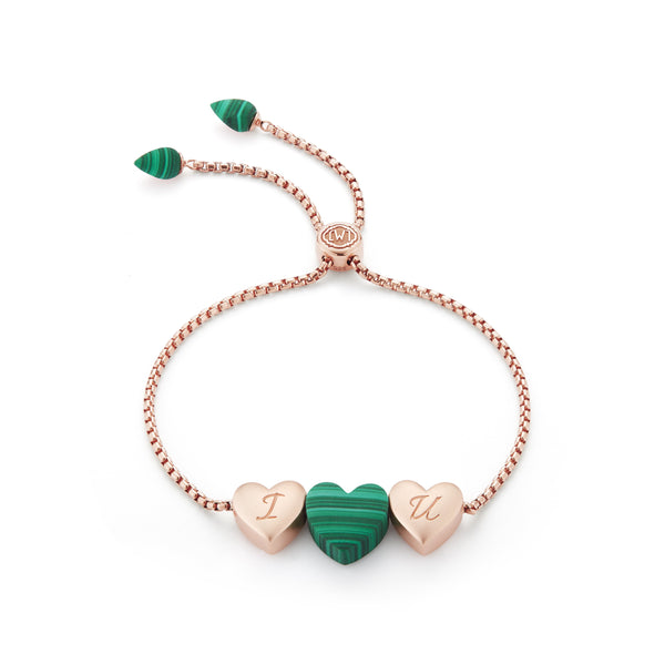 Luv Me Malachite Bolo Adjustable I Love You Heart Bracelet in 14K Rose Gold Plated Sterling Silver