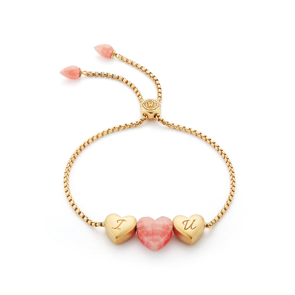 Luv Me Rhodochrosite Bolo Adjustable I Love You Heart Bracelet in 14K Yellow Gold Plated Sterling Silver