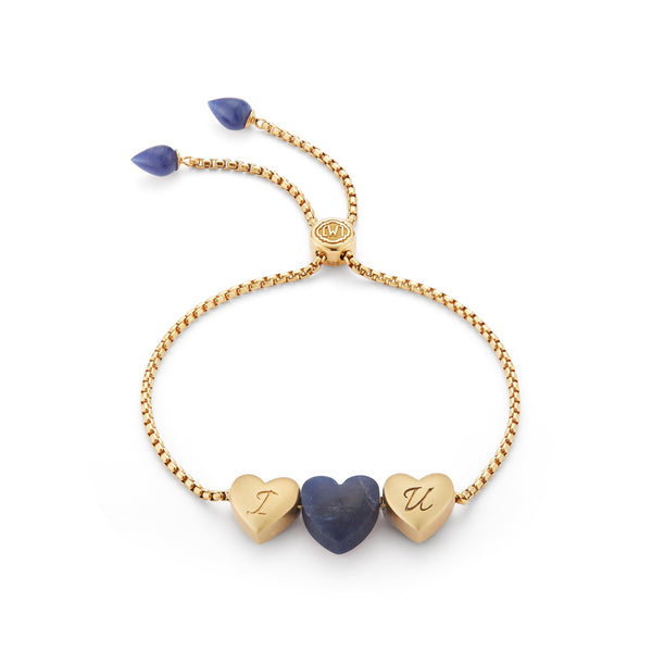 Luv Me Sodalite Bolo Adjustable I Love You Heart Bracelet in 14K Yellow Gold Plated Sterling Silver