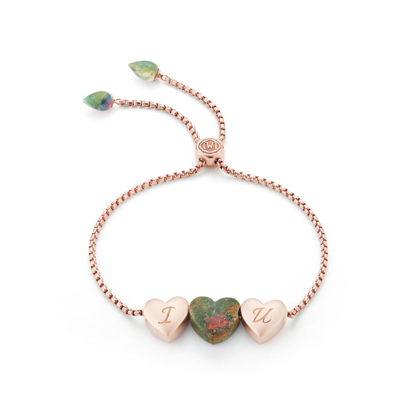 Luv Me Ruby Fuchsite Bolo Adjustable I Love You Heart Bracelet in 14K Rose Gold Plated Sterling Silver
