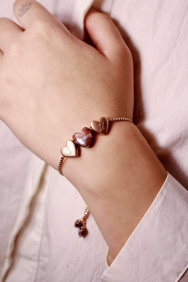 Luv Me Lace Agate Bolo Adjustable I Love You Heart Bracelet in 14K Rose Gold Plated Sterling Silver