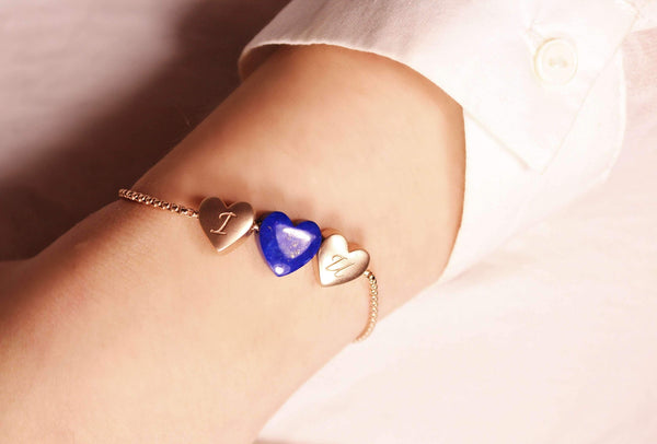 Luv Me Lapis Bolo Adjustable I Love You Heart Bracelet in 14K Rose Gold Plated Sterling Silver
