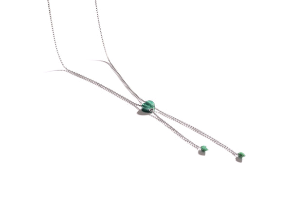 Luv Me Green Aventurine Adjustable Heart Necklace in Sterling Silver
