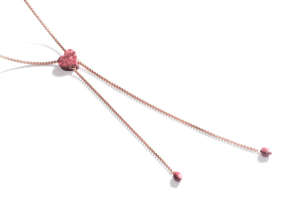 Luv Me Thulite Adjustable Heart Necklace in 14K Rose Gold Plated Sterling Silver