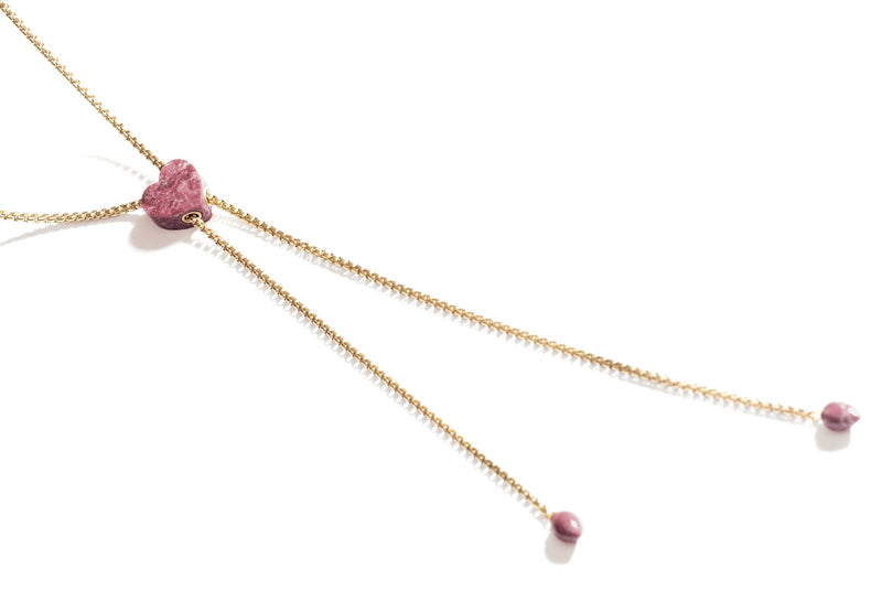 Luv Me Thulite Adjustable Heart Necklace in 14K Yellow Gold Plated Sterling Silver