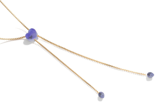 Luv Me Blue Howlite Adjustable Heart Necklace in 14K Yellow Gold Plated Sterling Silver