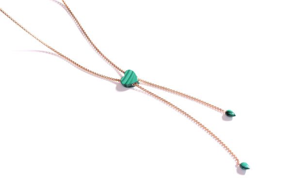 Luv Me Malachite Adjustable Heart Necklace in 14K Rose Gold Plated Sterling Silver