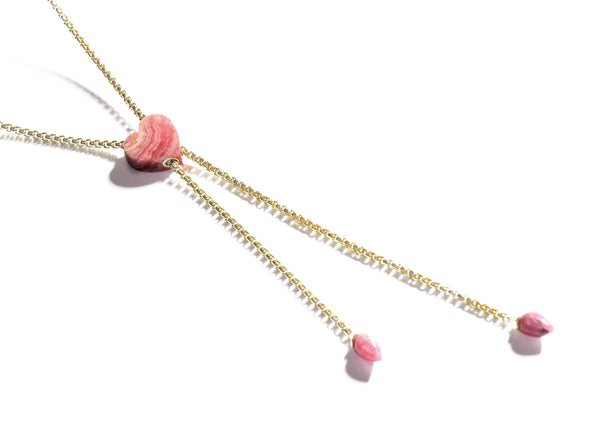 Luv Me Rhodochrosite Heart Adjustable Necklace in 14K Yellow Gold Plated Sterling Silver