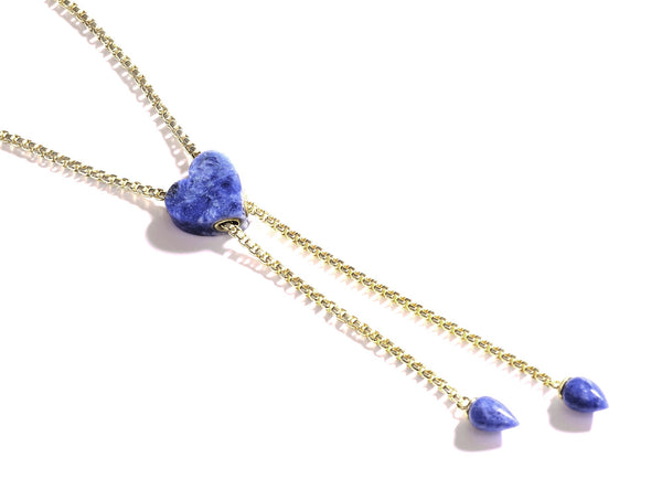 Luv Me Sodalite Adjustable Heart Necklace in 14K Yellow Gold Plated Sterling Silver