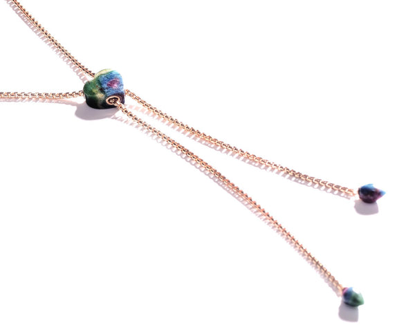 Luv Me Ruby Fuchsite Adjustable Heart Necklace in 14K Rose Gold Plated Sterling Silver