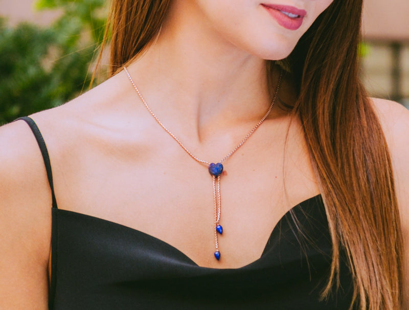 Luv Me Lapis Adjustable Heart Necklace in 14K Rose Gold Plated Sterling Silver