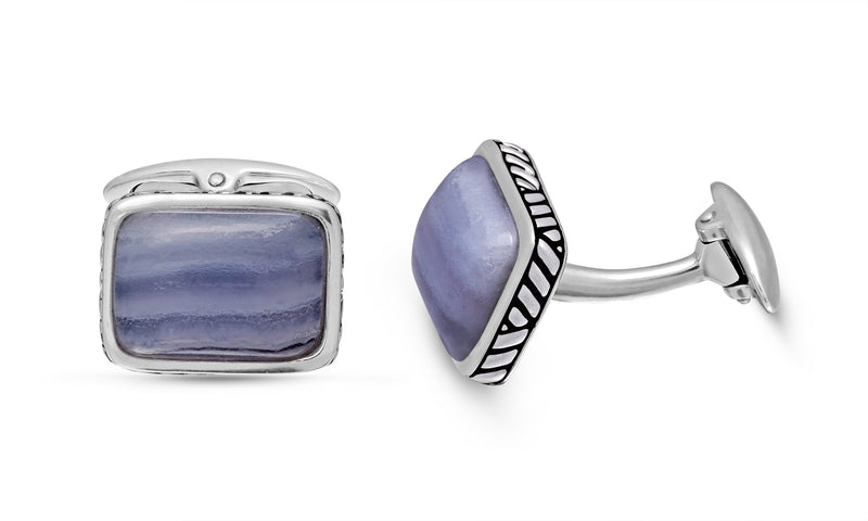 Blue Lace Agate Stone Cufflinks in Black Rhodium Plated Sterling Silver