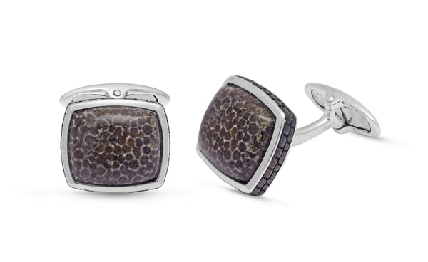 Fossil Agate Stone Cufflinks in Black Rhodium Plated Sterling Silver