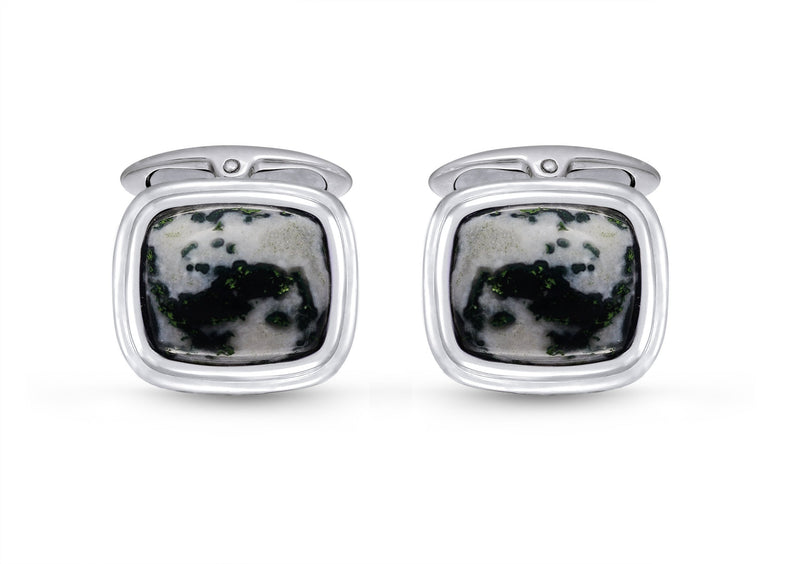 Tree Agate Stone Cufflinks in Black Rhodium Plated Sterling Silver