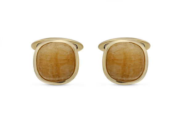 Yellow Lace Agate Stone Cufflinks in 14K Yellow Gold Plated Sterling Silver
