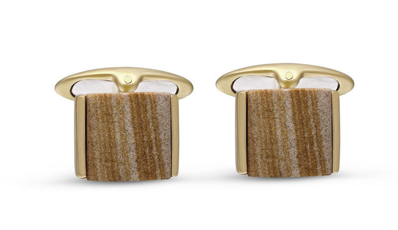 Wood Jasper Stone Cufflinks in 14K Yellow Gold Plated Sterling Silver