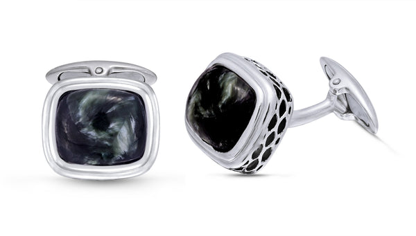 Seraphinite Stone Cufflinks in Black Rhodium Plated Sterling Silver