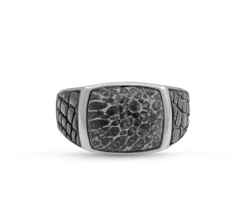Fossil Agate Stone Signet Ring in Black Rhodium Plated Sterling Silver
