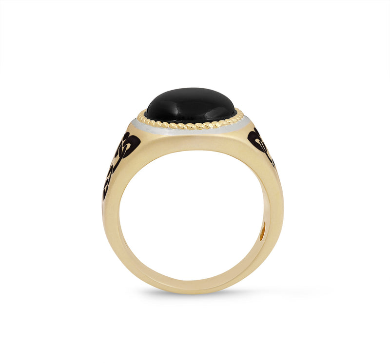 Black Onyx Stone Signet Ring in 14K Yellow Gold Plated Sterling Silver with Enamel