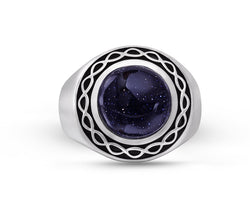 Blue Sand Stone Flat Back Cabochon Signet Ring in Black Rhodium Plated Sterling Silver